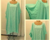 Seaglass Goddess Caftan Midi Cotton With Sleeves Beach Sea Glass Gauze Cover Up Plus Size Womens