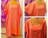 Coral Goddess Tunic Oversized Dresses Caftan Long Cotton House Dress With Sleeves Large, XL, 1X, 2X, 3X, 4X, 5X, 6X, Beach Gauze Plus Size