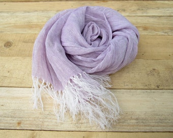 Purple linen scarf, scarf with knot fringe, linen scarves, scarf linen, linen shawl, pure linen scarf, women scarf, men scarf, soft scarf