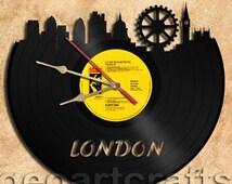 London Vinyl Record Clock Upcycled Wall Clock Gift Idea