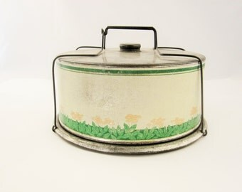Vintage Tin Lithographed Cake Carrier With Stylized Flowers and Leaves - Spring Wire Handle - Fun - Ready to Use