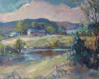 Summer Landscape - Original painting by Carl W. Illig, American, green countryside, stream pond. Eastern US
