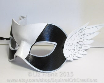 Winged Super Hero Masquerade Mask, Handmade from Leather, Great for theater, costume, rave, larp and more!