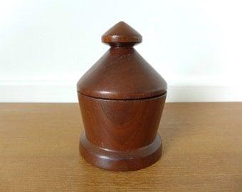 Turned wood trinket box, snuff box
