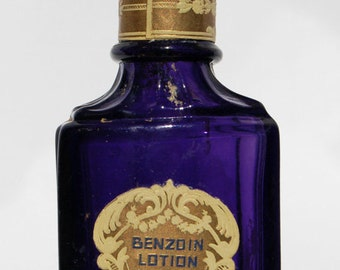 Altered pre AVON antique Purple Glass CALIFORNIA Perfume Company BENZINE Lotion bottle w/ Brass Stopper, Label, 100 Years Old !
