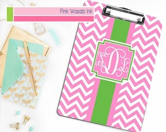 Monogrammed Clipboard, Personalized Clipboard, Custom School Supplies, Chevron Clipboard, Choose Colors