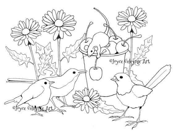 Items Similar To Hand Drawn Coloring Page Birds And Mouse In The Garden Gathering Cherries For Adults Daisies Commercial Use INSTANT DOWNLOAD
