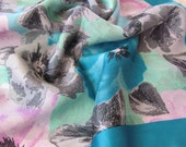 """Large Blue Floral  Soft Poly Scarf 31"""" Square"""