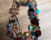 Lux chunky multi-strand bracelet: warm and ocean tones with agate, turquoise, crystal, wire wrapped awesomeness