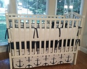 Crib Baby Bedding Nautical Anchor Navy Baby Bedding, 3-5PC Crib  Bedding Set, Navy / White  Baby Bedding.