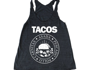 TACOS Ramones tank top, funny women's Taco tank, Taco Tuesday Tank, Mexican tank top, Foodie tank, Chef tank top Punk Rock tank women's tank