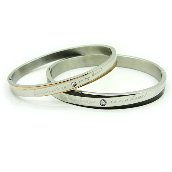 names engraved couples bracelets for him and by