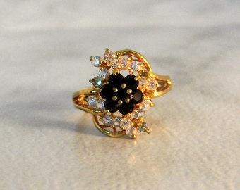Blue Rhinestone Ring  Art Deco  Size 7   Gold Tone