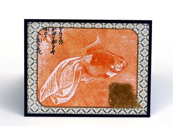 Goldfish koi collage blank card, orange gold coin, Asian theme stamped greeting card,