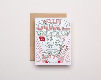 Egg Nog Card - Letterpress Christmas Card