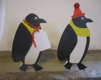 Paper Penguin Zoo Favor Tags, Place Cards, Decorations, Name Cards, Table Tents, Invitations, Baby Shower Place Cards, Escort Card - 12