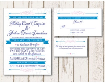 Malibu Banner Wedding Invitation Suite