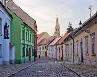 Old European Streets Photography, Bratislava Art, Travel Photography, Colorful Print, Pretty Houses, Fine Art, Home Decor, Destination