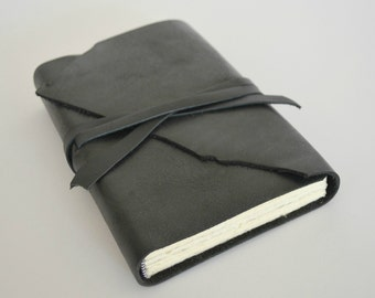 Handmade Bound Black Leather Notebook Journal Custom Made to Order Diary (285D)