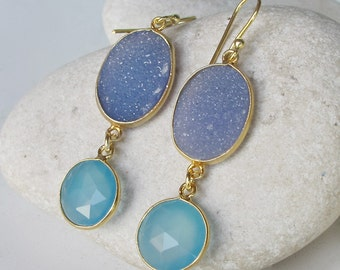 Something Blue Earring- Boho Drop Earring- Long Double Stone Earring- Sterling Silver Earring- Aqua Blue Statement Earring