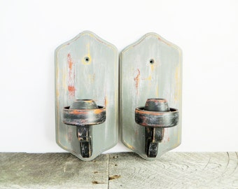 Painted Candle Sconces - Black and Slate Grey - Neutral Chic Decor - Modern Shab