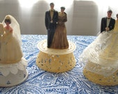 SPECIAL-set of 3 vintage plastic wedding cake/anniversary toppers