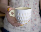 Ceramic Porcelain cup coffee espresso - unique handmade serving decorative textured kitchen pottery morning coffee - yellow