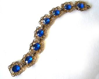Vintage Bracelet Blue Sapphire colored stones Gold Tone
