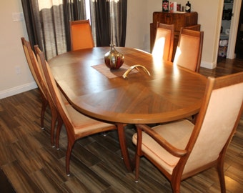 Huge Sale !! Brown Saltman Mid Century Danish Modern Dining Set Oval Rosewood, extra extention leaves