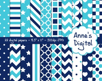 "Blue and Aqua Digital Papers - Matching Solids Included - 22 Papers - 8.5"" x 11"" - Instant Download - Commercial Use (021)"