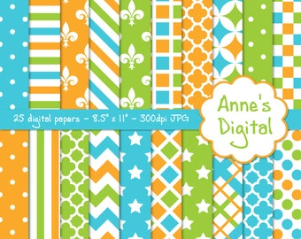 "Lime Green, Aqua, and Gold Digital Papers - Matching Solids Included - 25 Papers - 8.5"" x 11"" - Instant Download - Commercial Use (221)"