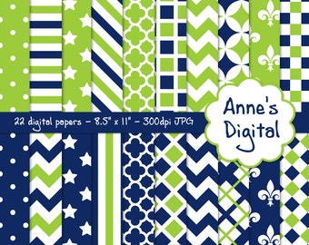 "Blue and Lime Green Digital Papers - Matching Solids Included - 22 Papers - 8.5"" x 11"" - Instant Download - Commercial Use (159)"