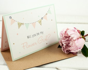 Will You Be My Flower Girl Card - mint blush bunting