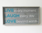 Live Laugh Love Quote Wood Sign Home Decor Rustic Decor Modern Rustic Wedding Gift Party Housewarming