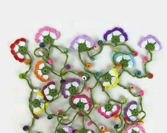 Crochet Necklace Long Crochet Lariat Necklace ,Multicolor Oya Flower Necklace,Crochet Jewelry, Knitted Necklace, Spring Summer Boho Tribal g
