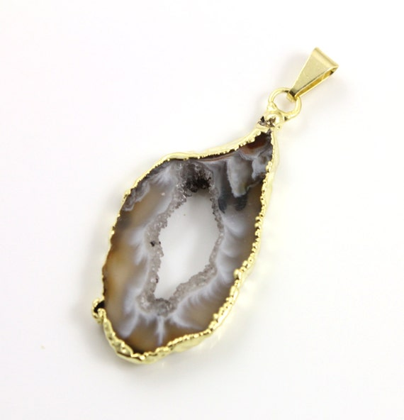 Gorgeous Earthy Druzy Slice Pendant Gold Plated 21x41mm