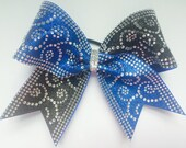 """3"""", 3 inch cheer bow all star cheer royal and blue glitter all over rhinestones Goegeous bow! Best price!!"""
