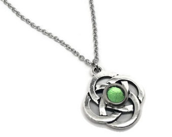 Celtic Necklace, Irish Jewelry, Silver Celtic Knot, Light Green Necklace, Resin Jewelry, Stainless Steel Necklace Chain