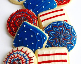 American Flag/ 4th of July / Stars and Stripes / Fireworks/ Memorial Day Sugar Cookies with Buttercream Frosting