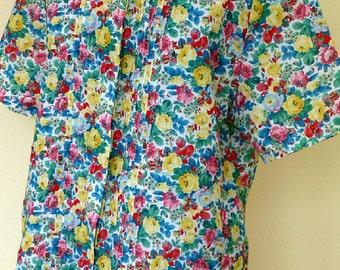 Vintage Floral Print Blouse Peter Pan Collar Large Summer Top UK 18