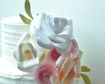 Cake topper, paper flower cake topper, Wedding Cake topper, Wedding cake flowers