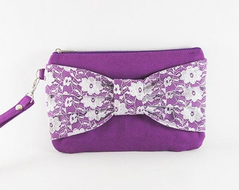 SUPER SALE - Eggplant Purple Lace Bow Clutch - Bridal Clutches, Bridesmaid Wristlet, Wedding Gift, Cosmetic Bag,Zipper Pouch - Made To Order