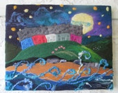 textile art, embellished felt, wet felted, a sky full of stars, 20 x 16 inches