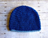 Turquoise and Light Blue Crochet Beanie - Womens Beanie - Womens Hat - Basic Beanie - Winter
