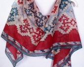Armenian Carpet Hand Painted Silk Scarf.Red and Blue silk scarf.Ready to Ship!