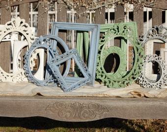 Set Of 5  Made To Order Frames - Distressed Gallery Frame Set - Shabby Chic Frame