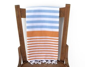 Hammam Towel Turkish Bath Towel Turkish Beach Towel Fouta Towel Sarong Pareo Throw Cotton Blanket Handwoven BLUE ORANGE PESHTEMAL