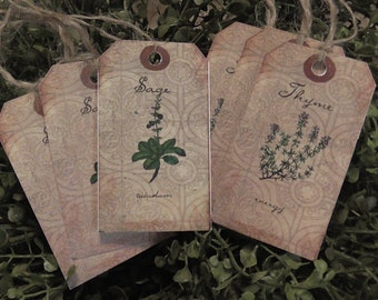 Primitive Herbs Thyme & Sage Hang Tags (Set of 6) FREE SHIPPING