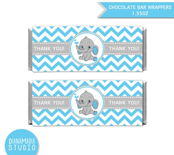 chocolate bar wrappers elephant boy baby shower printable