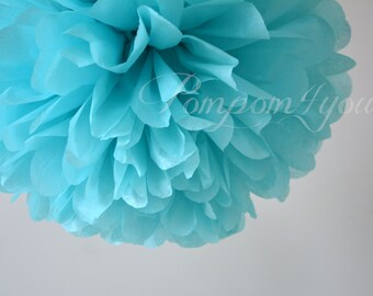 One Aquamarine Tissue paper Pom Poms // Wedding Decorations // Party Decorations // Pom Poms